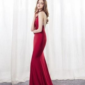 JORDAN CRANBERRY RED EVENING GOWN NEW BRAIDSMAID